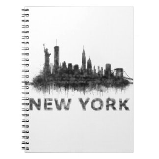 New York Dark-White Skyline v07 Spiral Notebook