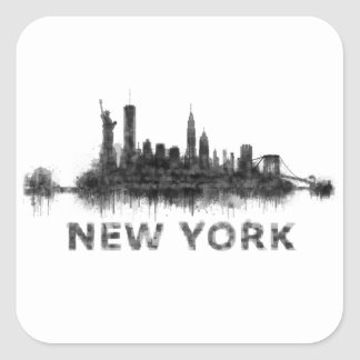 New York Dark-White Skyline v07 Square Sticker