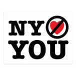 new york doesn't love you i love ny parody postcard