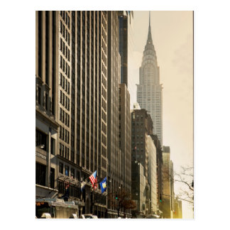 New York, E 42 St and Chrysler Building Postcard