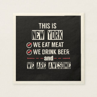 New York Eat Meat Drink Beer Awesome Paper Napkin