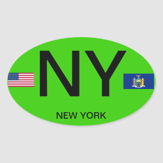 New York - European Style Oval Sticker