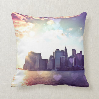 New York Fairy Tale - Rainbow Heart Bokeh Cushion