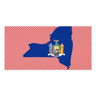 New York Flag Map Custom Photo Card