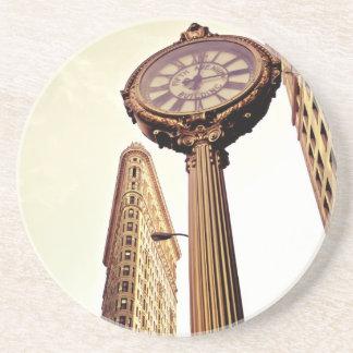 New York - Flatiron Building and Clock Drink Coaster
