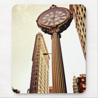 New York - Flatiron Building and Clock Mouse Pad