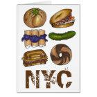 New York Foodie NYC Jewish Deli Pickle Bagel Knish Card