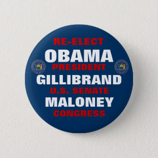 New York for Obama Gillibrand Maloney 6 Cm Round Badge
