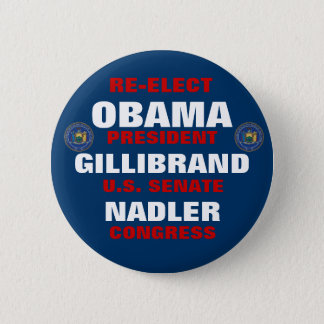 New York for Obama Gillibrand Nadler 6 Cm Round Badge