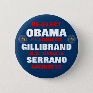 New York for Obama Gillibrand Serrano 6 Cm Round Badge