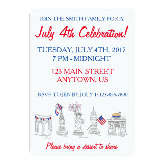 New York Fourth NYC 4th of July Patriotic Party Card