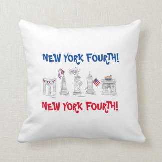 New York Fourth! NYC July 4th Patriotic Pillow