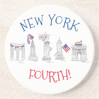 New York Fourth NYC Patriotic July 4th Landmarks Coaster