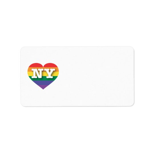 New York Gay Pride Rainbow Heart - Big Love Address Label