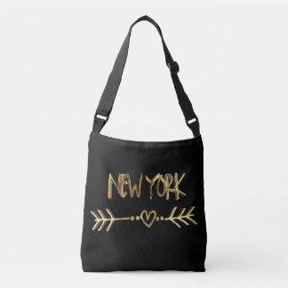 New York Gold Look Typography USA City Elegant Crossbody Bag
