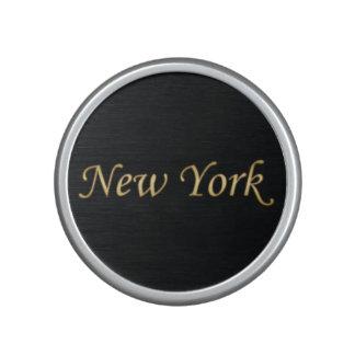 New York Gold - On Black Bluetooth Speaker