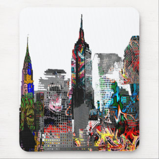 New York graffiti skyline Mouse Pad
