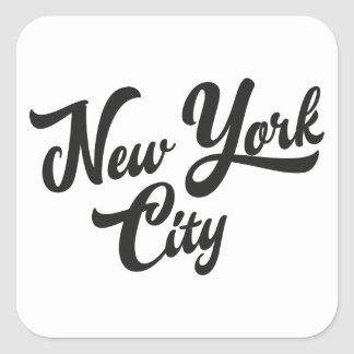 New York Handwritting Square Sticker