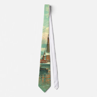 New York Harbor with Brooklyn Bridge 1887 Tie
