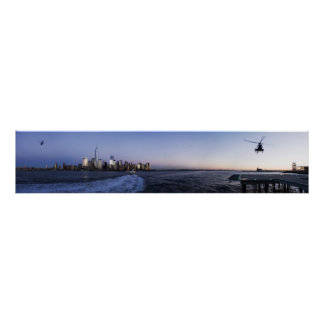 New York Harbor with Ferry Boat and Helicopters Poster