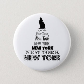 New York Howling, Dog Coyote, Wolf - I love NY 6 Cm Round Badge