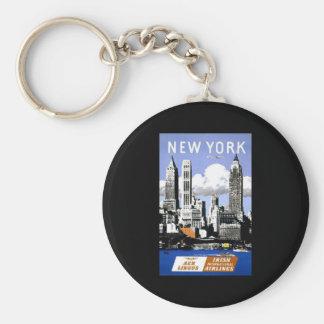 New York Irish International Airlines Basic Round Button Key Ring