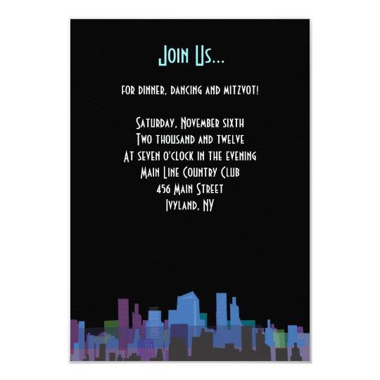 New York Lady Liberty Bar Bat Mitzvah Party Card