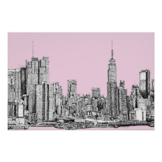 New York light pink Posters