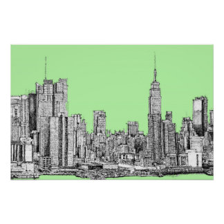 New York lime green Poster