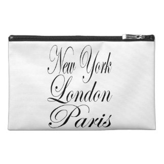 New York - London - Paris Black And White Text Travel Accessory Bag
