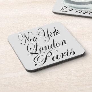 New York London Paris – Typography Text Beverage Coasters