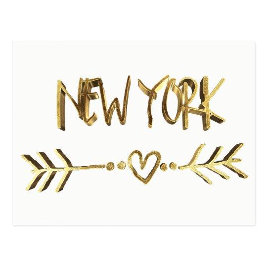 New York Love USA Elegant Gold Look Typography Postcard