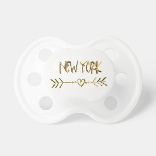 New York Love USA Gold Look Typography Heart Pacifiers