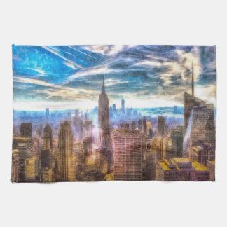 New York Manhattan Skyline Art Tea Towel