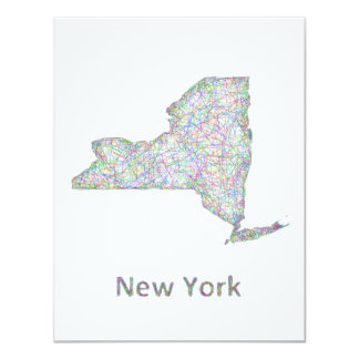 New York map 11 Cm X 14 Cm Invitation Card