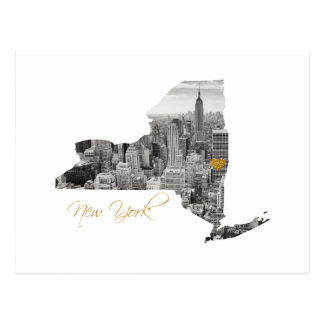 New York Map Cut Out Postcard