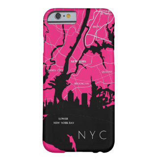 New York Map, NYC, Pink, Pop Art Barely There iPhone 6 Case