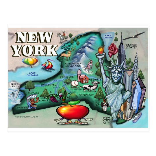 New York Map Postcard