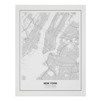 New York Minimalist Map Poster with margin