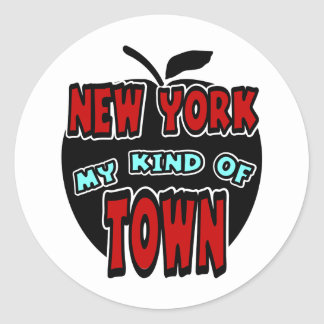 New York My Kind Of Town With Big Apple Classic Round Sticker