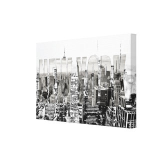 New York, New York (black & white panorama) Canvas Print