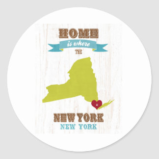 New York, New York Map – Home Is Where The Heart I Round Sticker