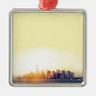 New York New York Silver-Colored Square Decoration