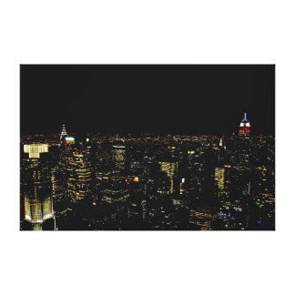 New York night skyline Stretched Canvas Prints