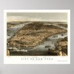 New York, NY Panoramic Map - 1856 Poster