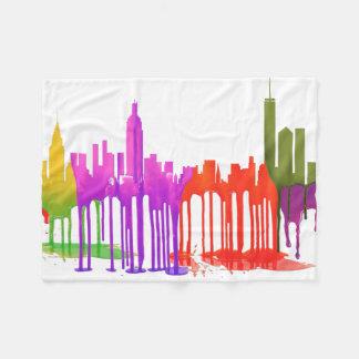 NEW YORK, NY SKYLINE PUDDLES - FLEECE BLANKET