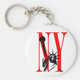 New York NY Statue of Liberty Logo Design Basic Round Button Key Ring