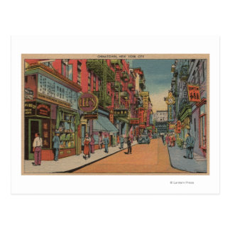 New York, NY - View of Chinatown Shops Postcard