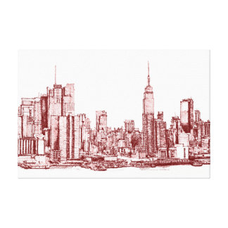 New York NYC red Stretched Canvas Print