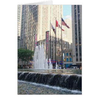 New York NYC Rockefeller Center Fountain Photo Card